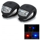 Bicycle Anti-Slip 2-LED Red + Blue Signal Lamps - Black (2 PCS)