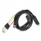 HDMI to 3-RCA AV Adapter Cable w/ USB Port - Black + Multi-Colored (168cm)