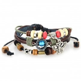 B01584 Butterfly Ornament Leather Bracelet - Brown