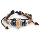 B01492 Fashion Leaf Ornament Leather Bracelet - Brown + Silver + Multi-Color
