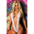 See-Through Lace Ultra Sexy Lace Lingerie - White (Free)