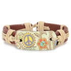 B01500 Fashion Lederarmband - Braun + Hellgelb + Multi-Color