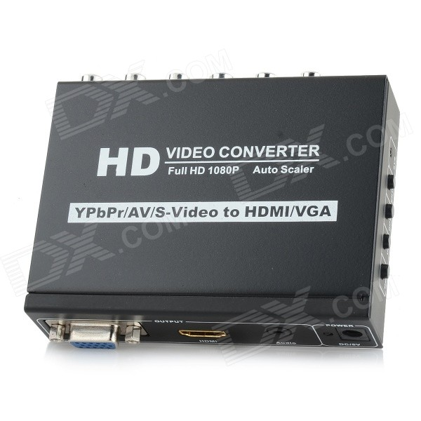 YPbPr / AV / S-Video to HDMI / VGA 1080P Video Converter - Black