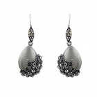 Women's Korean Style Trendy Waterdrop-shaped Rhinestone-studded Earrings - Blackish Grey (Pair)