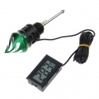 DIY Motorcycle Digital Oil Level Gauge Meter Dipstick w/ Thermometer - Black + Green (2 x LR44)