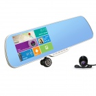 "Q5 5"" HD 1080P Android Car DVR Camcorder w/ Rearview Mirror / GPS / Wi-Fi / 8GB ROM / RU Map - Black"