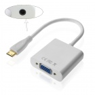 CY Type C Mini HDMI to VGA Female w/ 3.5mm Audio Adapter for Tablet / Mobile Phone - White