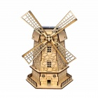 DIY Holland Windmill Style Solar Powered Assembled Toy - Wood Color