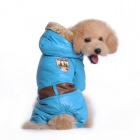 Fashionable Stamp Imprint Pattern Cotton Coat w/ Hoodie for Pet Dog - Blue (Size XL)