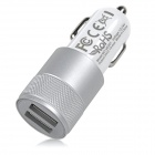 Universal Car Cigarette Lighter Power Adapter Charger w/ Dual USB Output - Silver + White