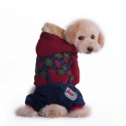 Cool Grid Pattern British Style Thickened Cotton Jumpsuit w/ Hoodie for Pet Dog - Deep Red (XL)