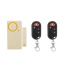 Forecum 9806A2 Household Magnetic Door Alarm w/ 2-Remote Control - Beige + Black (2 x AAA)