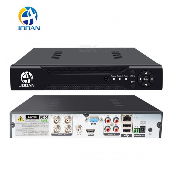 JOOAN 4CH 1080N CCTV DVR Compatible AHD TVI CVI IPC CVBS Video recorderDVR Cards &amp; Systems<br>Form  ColorBlackPower AdapterEU PlugModelJA-4204MaterialABSQuantity1 DX.PCM.Model.AttributeModel.UnitVideo Compressed FormatH.264Video Input4 channelsVideo OutputOthers,4CH VGA / HDMI&amp;BNCVideo SystemPAL,NTSCVideo StandardsH.264Audio Compression FormatOthers,G711AAudio Input4 channelsAudio Output1CHMax Capacity2TBInterface TypeSATAOperating SystemLinuxSupported LanguagesEnglish,Simplified Chinese,Traditional Chinese,Brazilian,Russian,Portuguese,Spanish,Italian,Korean,French,Czech,Hebrew,German,Finnish,Bulgarian,Swedish,Romanian,Greek,Others,Japanese, PolishPTZ ControlYes (RS485)Picture ResolutionCIF/D1Working Temperature-20~55 DX.PCM.Model.AttributeModel.UnitWorking Humidity10%~90%Storage TemperatureYesAlarm InputN/AAlarm OutputN/ANetwork InterfaceRJ45USB Port Qty2 DX.PCM.Model.AttributeModel.UnitPower AdaptorYesRate Voltage12VRated Current2 DX.PCM.Model.AttributeModel.UnitPower15 DX.PCM.Model.AttributeModel.UnitPower SupplyOthers,Power supply: Input: 100~240V, Output: 12V 2AOther FeaturesMain features: Hi3515, H.264, HD real D1; 4 BNC input, HD VGA and TV simultaneously output; 1 SATA interface(support 2T(2048G) hard disk); 4 x RCA input and 1 RCA output, PTZ interface: RS485; 2 x USB2.0; PAL / NTSC is available, multi-language; Support mobile phone monitoring.Packing List1 x DVR1 x EU Plug power adapter1 x Mouse (100cm)1 x English Manual<br>