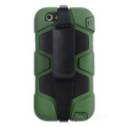 Protective Shockproof Silicone Back Case Cover Armor w/ Holder + Clip for IPHONE 6 PLUS - Army Green