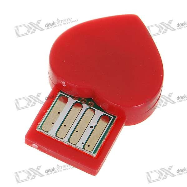 Ultra Mini Heart-Shaped Bluetooth 2.0 USB Dongle Adapter - Red