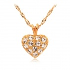 Rshow 18K RGP Alloy Rhinestone-studded Heart-shaped Necklace - Gold