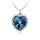 Rshow 18K RGP Alloy Rhinestone-studded Pendant Necklace - Silver + Blue