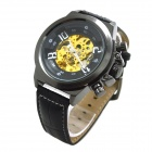 XLD-168 Men's Stylish PU Leather Band Analog Self-Winding Mechanical Wrist Watch - Black