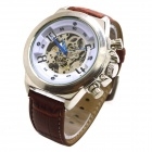 XLD-168 Men's Stylish PU Leather Band Analog Self-Winding Mechanical Wrist Watch - Brown