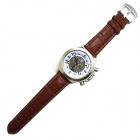 XLD-168 Men's PU Leather Band Self-Winding Mechanical Watch - Brown