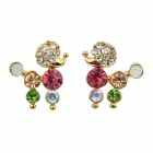 Fashionable Rhinestone-studded Vivid Dog-shaped Earrings - Gold + Multi-Colored (Pair)