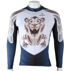 Paladinsport Men's Cute Tiger Print Long-sleeved Cycling Jersey Top - White + Blue (Size XXXL)