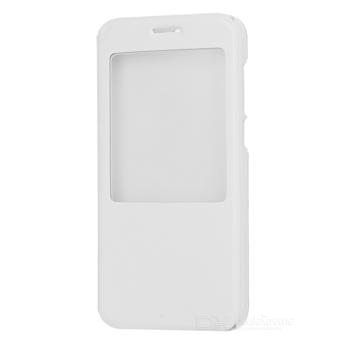 Flip-open PU Leather + PC Case w/ Holder + Window + Auto Sleep for Huawei G7 / C199 - White
