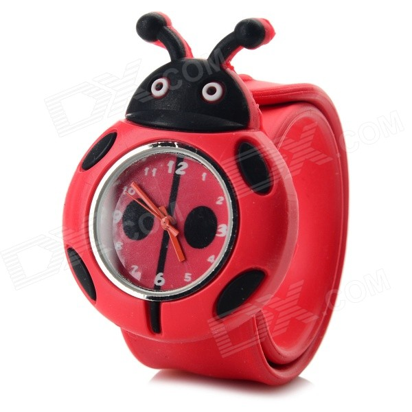 Cartoon Beetle Style Silicone Band Analog Quartz Slap-On Watch - RedChildren Watches<br>Form ColorRedModelN/AQuantity1 DX.PCM.Model.AttributeModel.UnitShade Of ColorRedCasing MaterialZinc alloyWristband MaterialSiliconeSuitable forChildrenGenderUnisexStyleWrist WatchTypeCasual watchesDisplayAnalogBacklightNoMovementQuartzDisplay Format12 hour formatWater ResistantFor daily wear. Suitable for everyday use. Wearable while water is being splashed but not under any pressure.Dial Diameter3.5 DX.PCM.Model.AttributeModel.UnitDial Thickness1.1 DX.PCM.Model.AttributeModel.UnitBand Width2.2 DX.PCM.Model.AttributeModel.UnitWristband Length23 DX.PCM.Model.AttributeModel.UnitBattery1 x 377 button cell (included)Packing List1 x Watch<br>