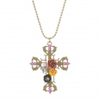 Women's Retro Skull Head Style Rhinestone Inlaid Alloy Pendant Sweater Necklace - Antique Bronze