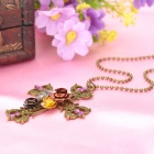 Women's Cross Rhinestone Inlaid Alloy Pendant Necklace - Bronze