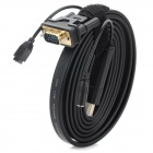 HDMI Male to VGA / 3.5mm / Micro USB Video Connection Cable - Black + Golden (180cm)
