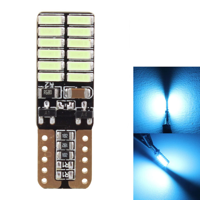MZ T10 4.8W 495nm Ice Blue LED Error-Free Canbus Car Clearance LightTail Lights<br>Color BINIce blueModelT10-4014-24smdQuantity1 DX.PCM.Model.AttributeModel.UnitMaterialPCBForm  ColorBlack + YellowEmitter TypeLEDChip BrandOthers,4014 SMDChip Type4014 SMDTotal EmittersOthers,24PowerOthers,4.8WWavelength483~495 DX.PCM.Model.AttributeModel.UnitTheoretical Lumens790 DX.PCM.Model.AttributeModel.UnitActual Lumens720 DX.PCM.Model.AttributeModel.UnitRate Voltage12~24VWaterproof FunctionNoConnector TypeT10ApplicationLicense plate light,Clearance lamp,Signal light,Indicator lampPacking List1 x LED bulb<br>