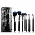 Professional 10-in-1 Cosmetic Makeup Brushes Set - Black + Deep Blue