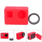 Fat Cat CS-4 Protective Silicone Shell Case w/ Protective UV Filter for GoPro Hero 4 / 3+ / 3 - Red