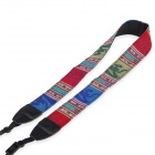 LYNCA LYN-208 Ancient Folk Style Woven Nylon + Canvas Shoulder Strap for DSLR - Red + Blue (138cm)