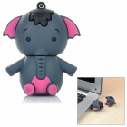 Lovely Cartoon Elephant Style PVC USB 2.0 Flash Drive Disk - Blue Grey + Deep Pink (64GB)