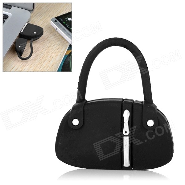Mini Handbag Style PVC USB 2.0 Flash Drive Disk - Preto + Branco (8GB)
