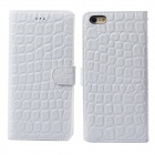 Stone Pattern Protective Flip-Open PU + PC Case Cover w/ Money / Card Slots for IPHONE 6 - White