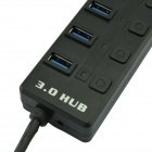 HUB-703 5.0Gbps USB 3.0 7-Port Hub w/ Switch / Indicator - Black