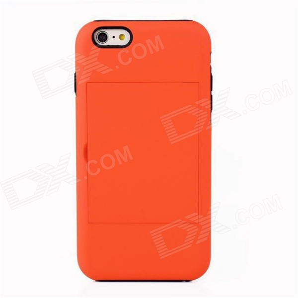 Protective Silicone Back Case Cover w/ Card Slot for IPHONE 6 - Orange