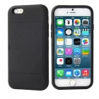 Protective Silicone Back Case Cover w/ Card Slot for IPHONE 6 - Black