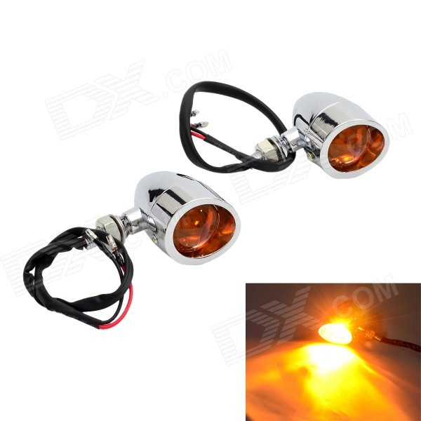 Yellow Light Motorcycle Steering Light Lamp - Silver + Orange (2PCS)