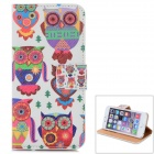 Cute Owls Pattern PU Leather Flip Open Case w/ Stand / Card Slot for IPHONE 6 - White + Green