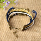 IB503 Elephant Ornament Leather Bracelet - Blue + Bronze