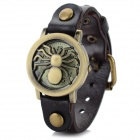 D2-8 Spider Style Leather Band Analog Quartz Wrist Watch - Deep Brown + Antique Bronze (1 x 626)