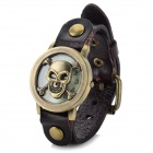 D2-4 Fashion Skull Head Style Analog Quartz Wrist Watch - Deep Brown + Antique Bronze (1 x 626)