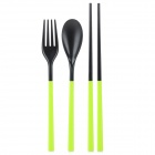 Naturehike 3-in-1 Portable Foldable Chopsticks + Spoon + Fork Set - Grass Green + Black