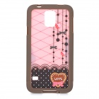 Lace Pattern Protective ABS Back Case for Samsung S5 - Grey + Black + Pink