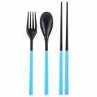 Naturehike 3-in-1 Portable Foldable Chopsticks + Spoon + Fork Set - Sky Blue + Black