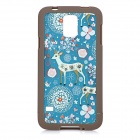 Cartoon Deer Pattern ABS Back Case for Samsung S5 - White + Blue